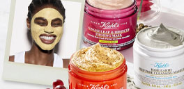 kiehls products and a picture of a woman using it on her face