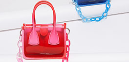 red and blue bags from charles & keith