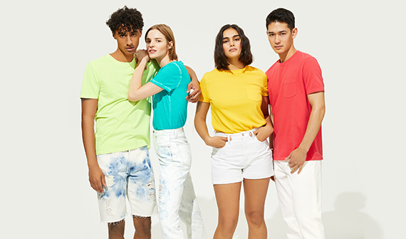 group of friends wearing bright tshirts