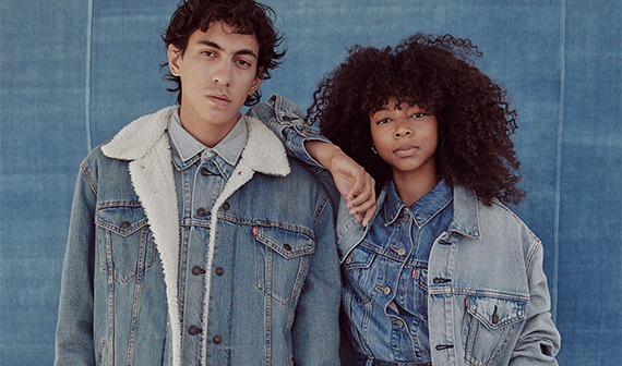 2 models in Levi jean jackets
