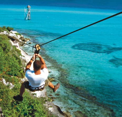 man ziplining during a trip booked on expedia.ca