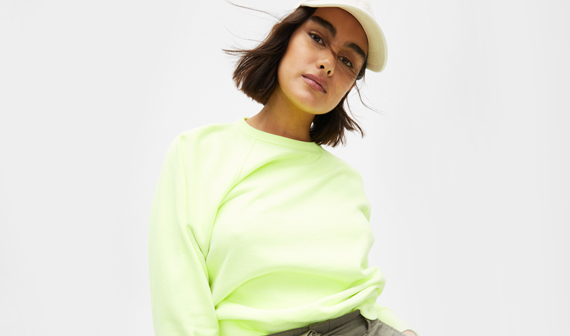 woman in neon gap clothes