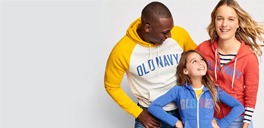old navy models wearing old navy clothing for clearance sale promotion