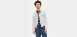 man wearing a light jean jacket