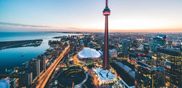 aerial picture of toronto with the CN tower in the middle