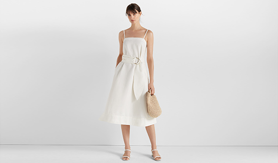 Club Monaco white dress on woman