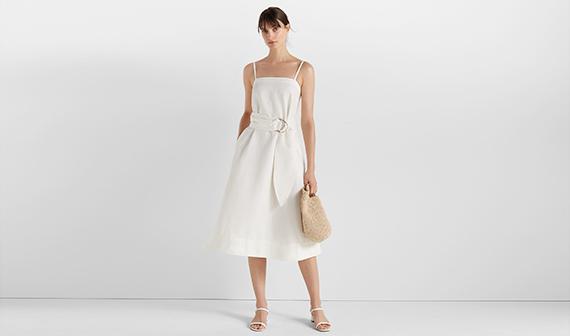 Club Monaco white dress on woman