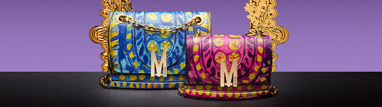 moschino blue and pink purses