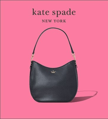black kate spade purse on pink background