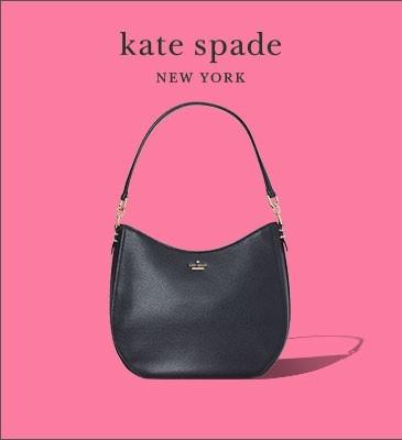 black kate spade purse on pink background
