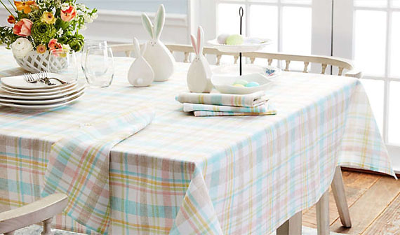 dining table from bed bath and beyond with spring decorations on top