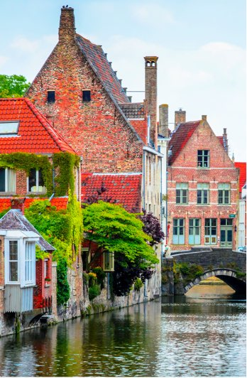 Houses beside a canal, Bruges