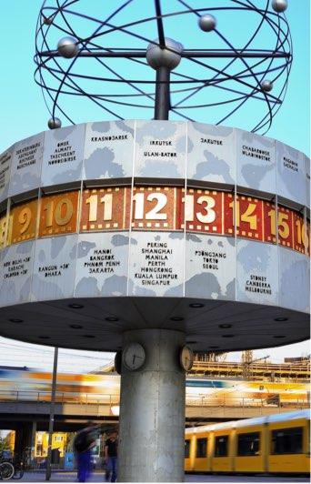 World Clock in Alexanderplatz, Berlin, showing the time in major global cities