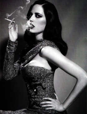 Black & white retro photo of woman exhaling smoke from a cigarette with a challenging pose