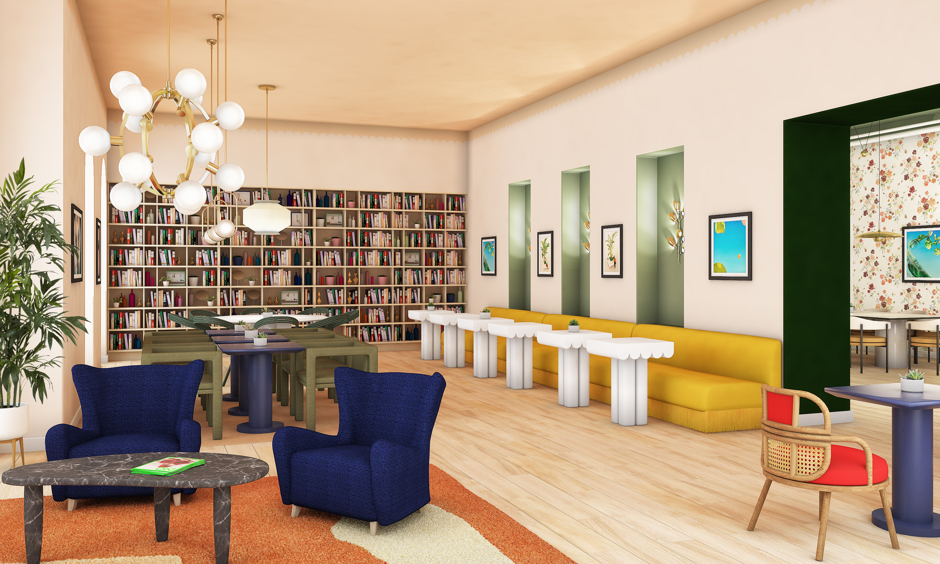 Rendering of the library at The Wing Upper West Side