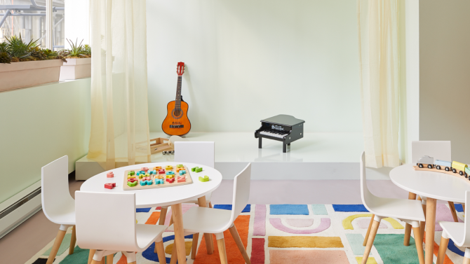 Interior shot of table and toys