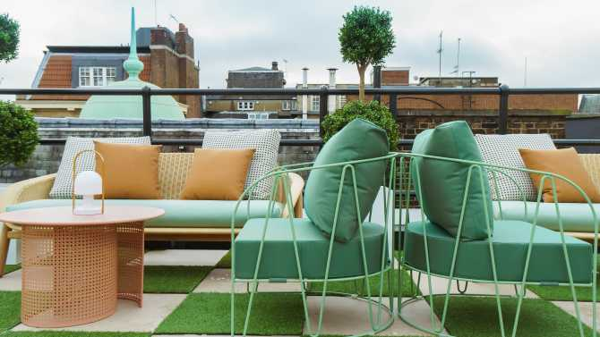 A photo of the seasonal outdoor terrace space at The Wing London