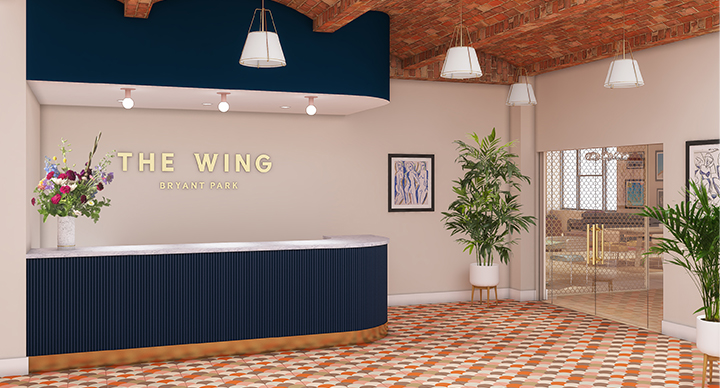 Photo of the front desk at The Wing Bryant Park