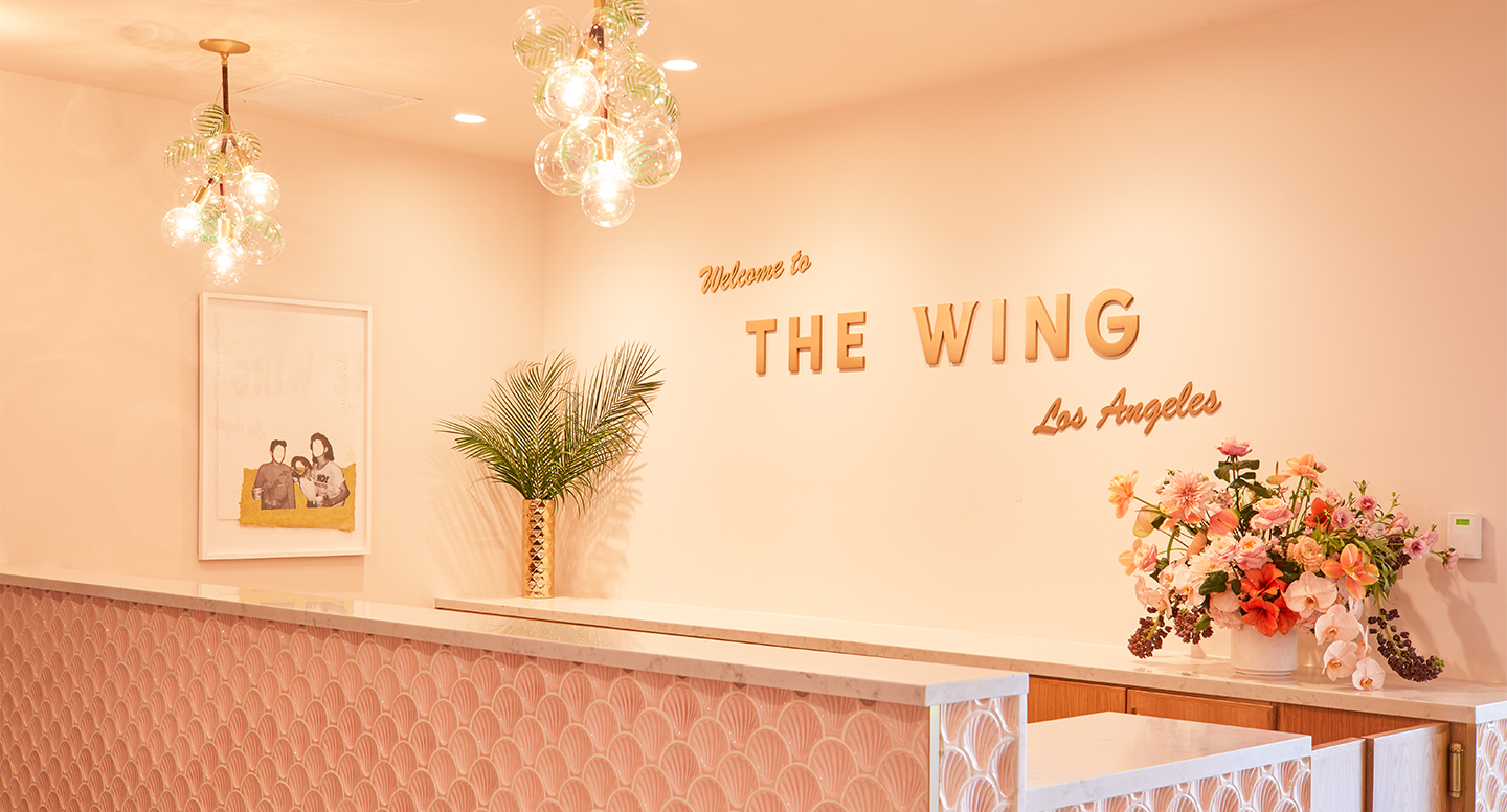 The reception area at The Wing West Hollywood.