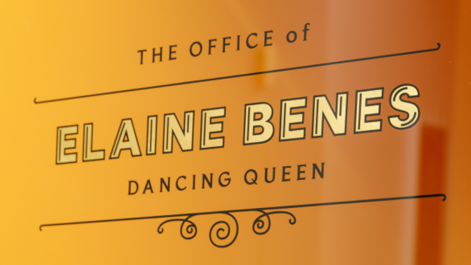 "Image of orange glass door with words ""The office of elaine benes, dancing queen."""