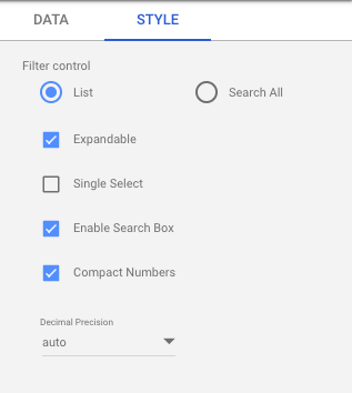 Style of filter controls for Google Analytics data