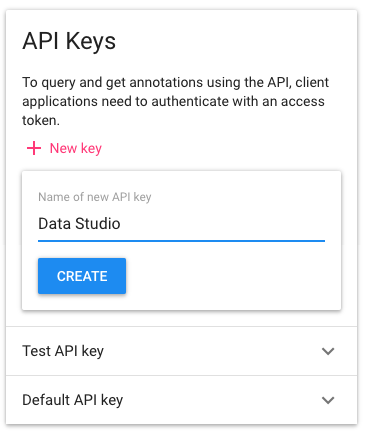 05 - Create an API key for Data Studio