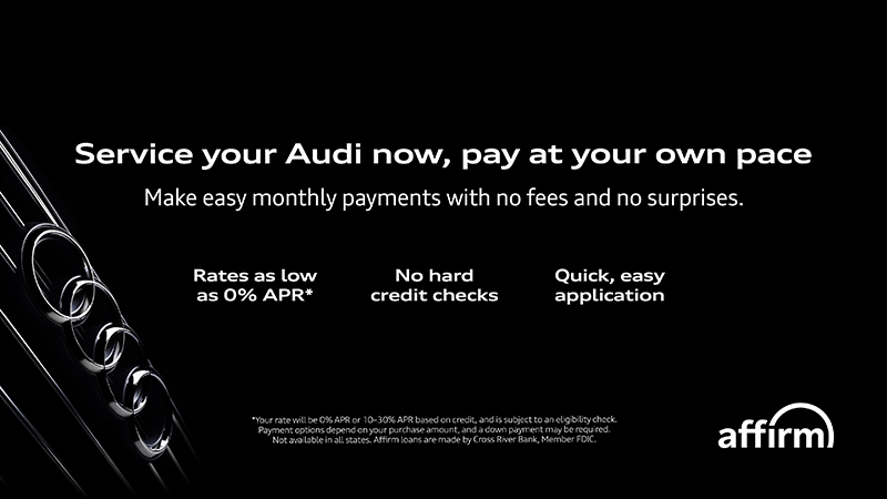 Signage for Audi dealer that includes info about Affirm offer