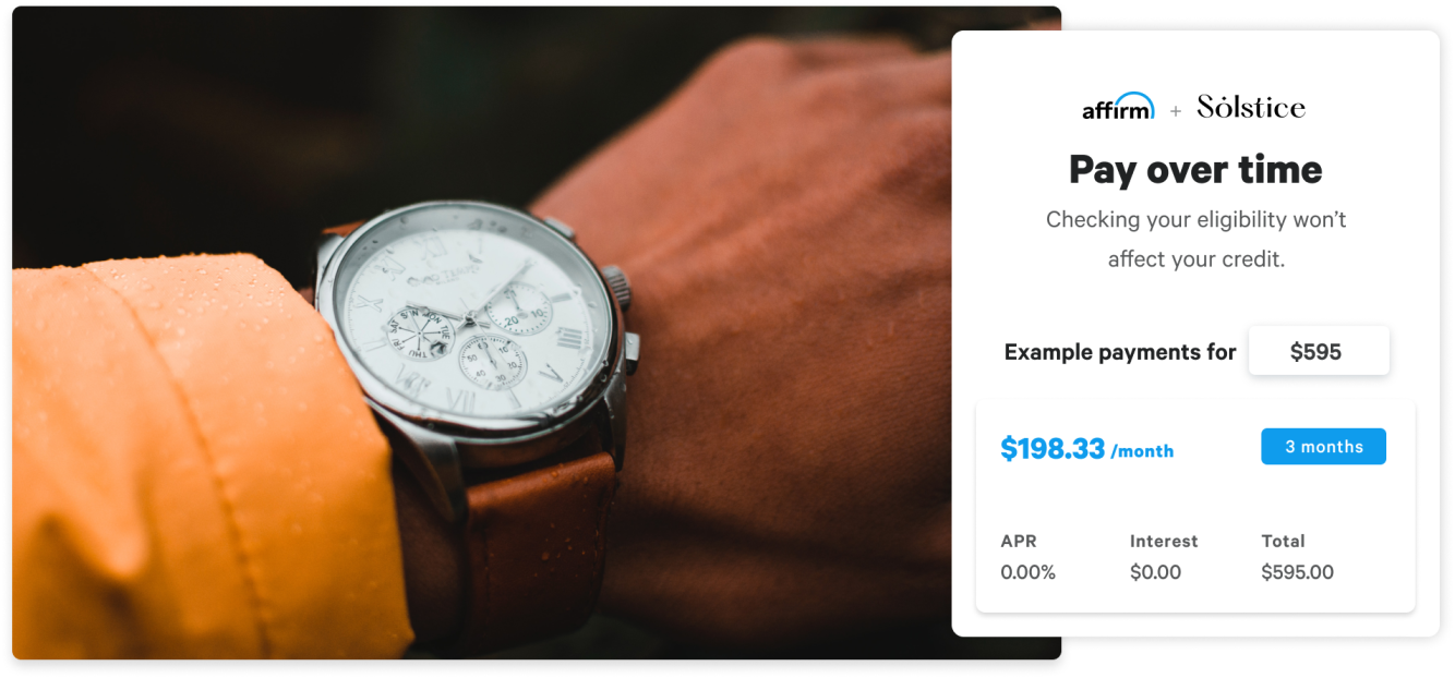 Affirm flexible payments options page with watch