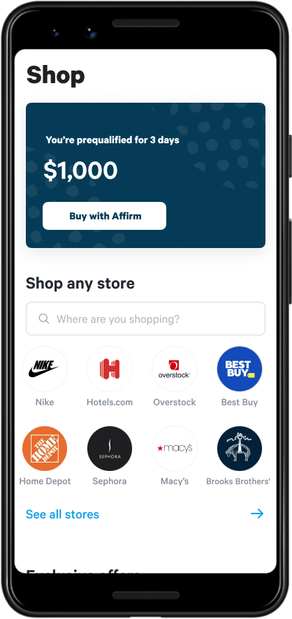 Screen shot of shopping screen in Affirm app