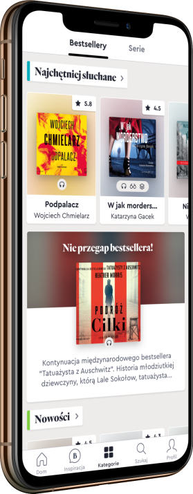 Phone displaying books in the BookBeat app