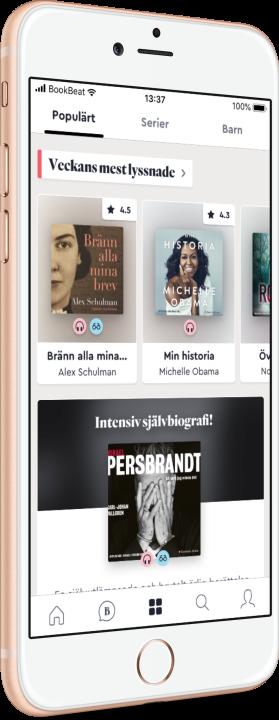Telefon visar böcker i BookBeat-appen