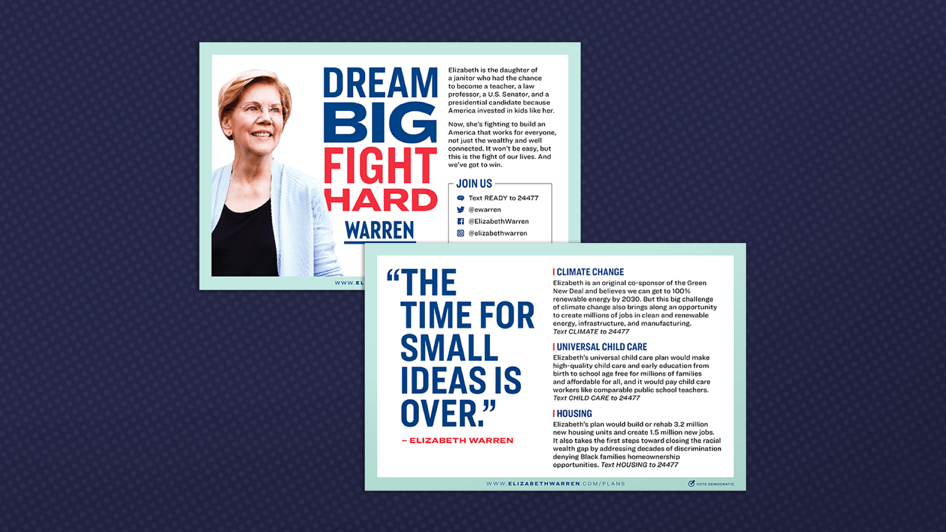 Elizabeth Warren literature on a blue background with blue polkadots