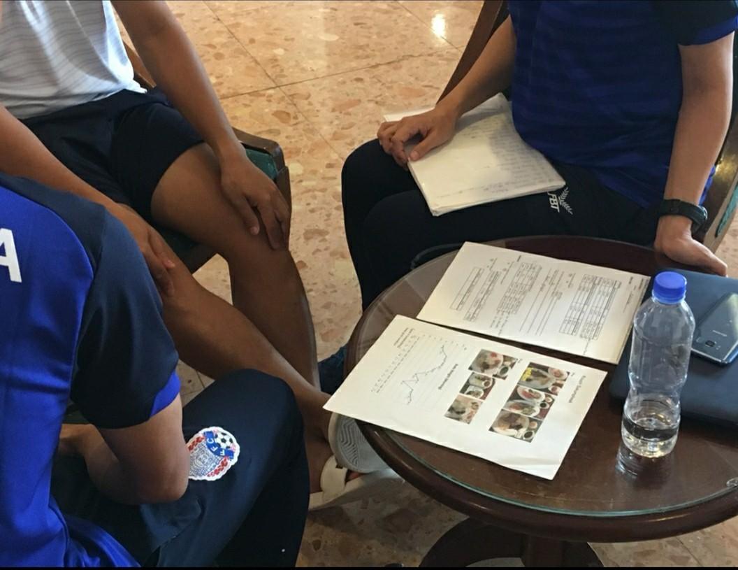 サッカーカンボジア代表での食事分析