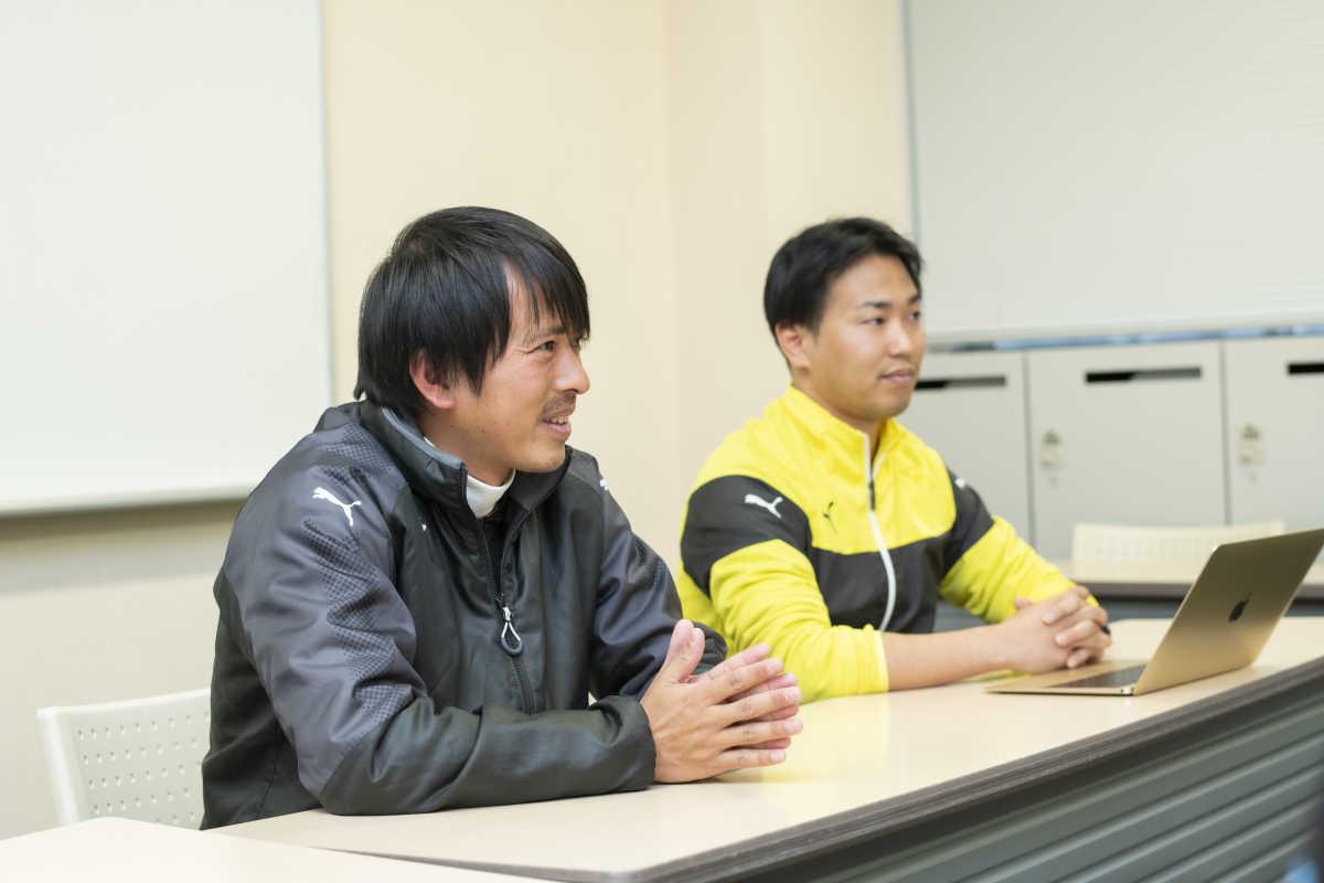 北越高校サッカー部監督荒瀬氏とトレーナーの宗氏