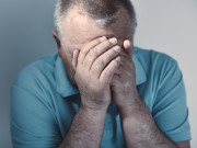 Older man with diabetes showing fear and distress