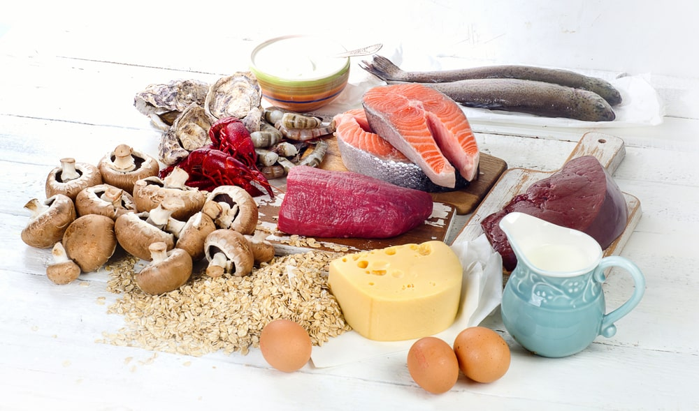 Vitamin B12 food sourcces meat fish seafood poultry mushrooms cheese milk eggs
