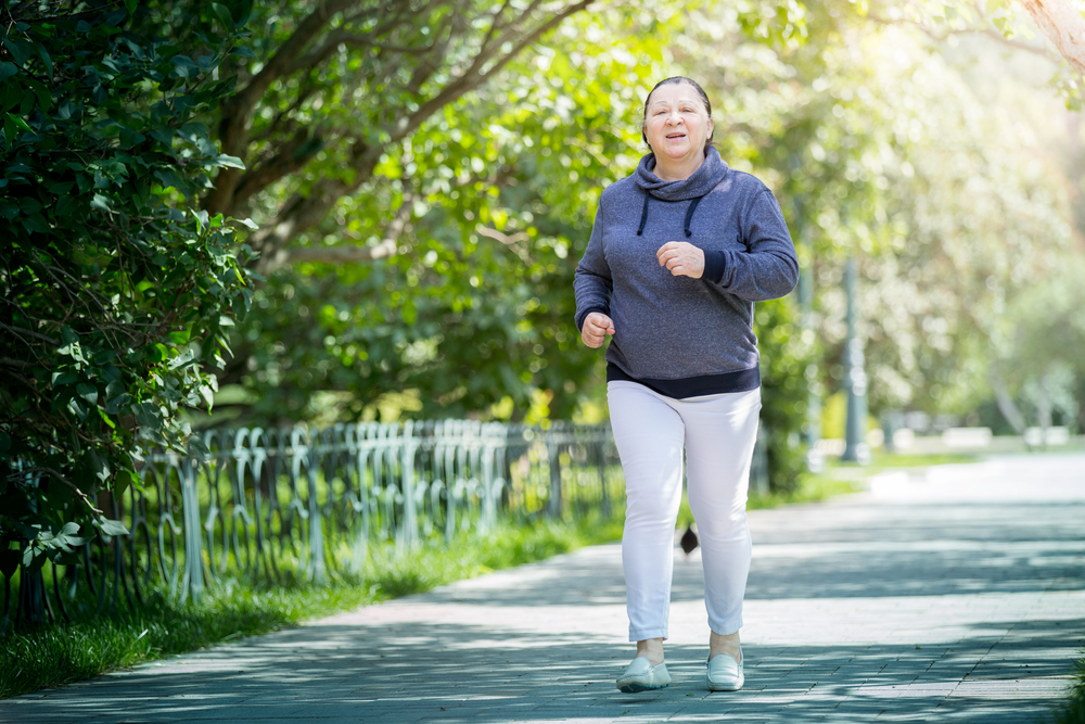 older woman with type 2 diabetes exercising