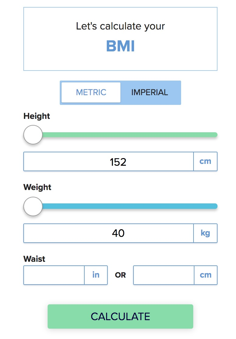 The BMI (Body Mass Index) is a simple equation to compare a person's weight with their height.