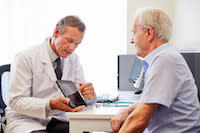 man with diabetes type 2 diabetes and his doctor endocrinologist