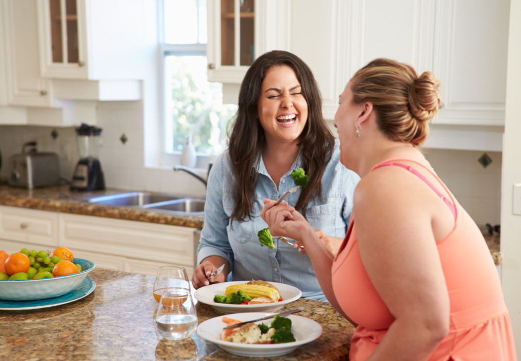 overweight women eating healthy together support prevent type 2 diabetes