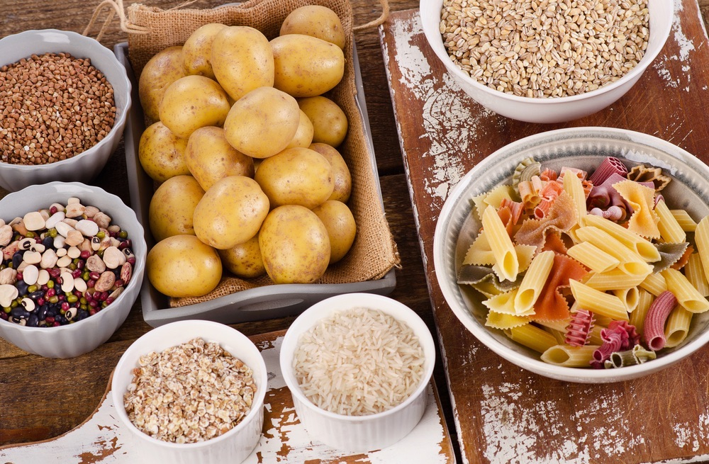 Types of complex carbohydrates include potato, legumes, rice, oats