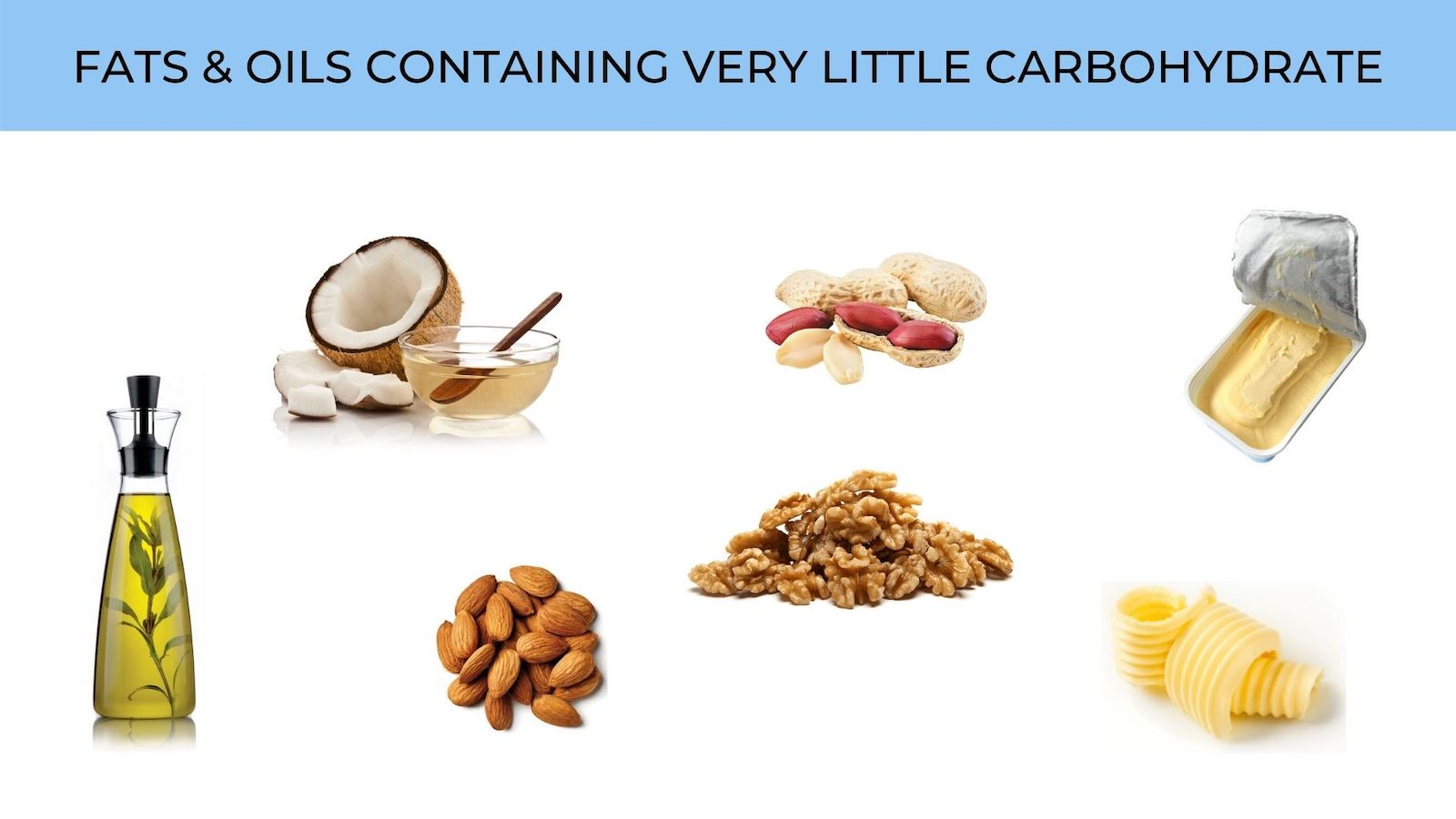 fats and oils with very little carbohydrate