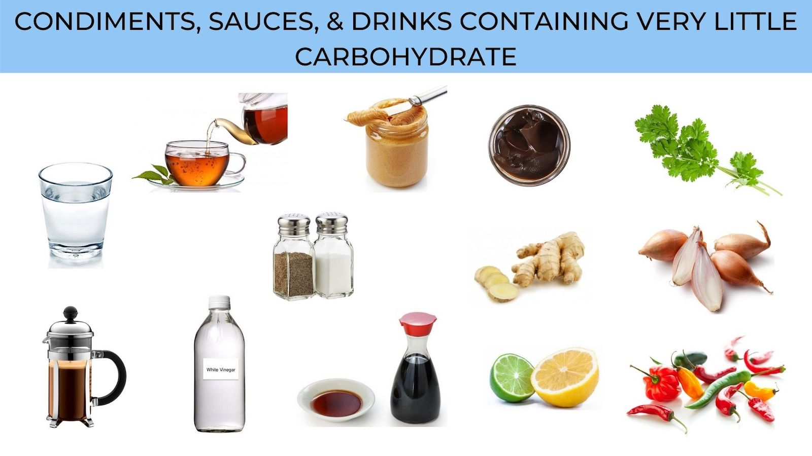condiments, sauces, and drinks with very little carbohydrate