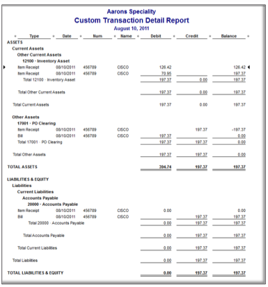 Custom transaction detail report in QB