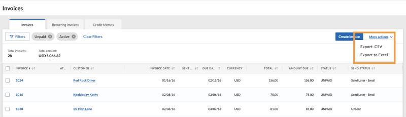 Export invoices page Dec 2020