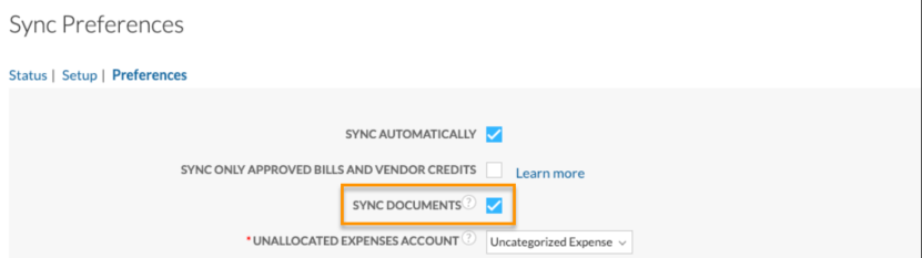 QBO document sync preference
