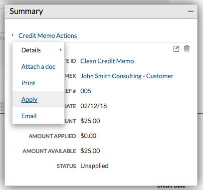 Credit Memo Actions - apply
