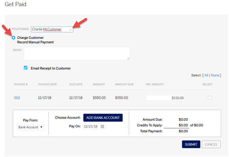 Select customer and charge