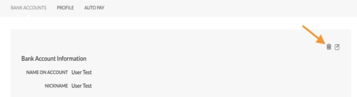 Portal - Delete bank account trash icon