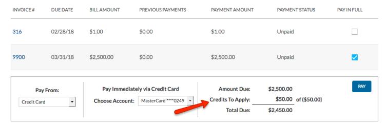 Portal account - Credits to apply